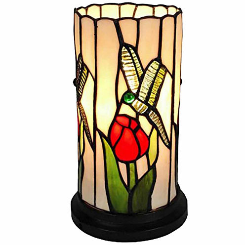 Amora Lighting AM089ACC Tiffany Style Dragonfly Mini Table Lamp 10 Inches Tall