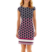 Liz Claiborne Cap-Sleeve Circle Border Print Shift Dress