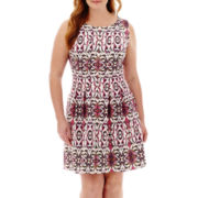 Danny & Nicole® Sleeveless Print Fit-and-Flare Dress - Plus