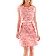Studio 1® Sleeveless Box-Pleat Stripe-and-Lace Fit-and-Flare Dress - Petite