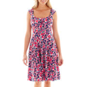 London Style Collection Sleeveless Floral Print Fit-and-Flare Dress - Petite