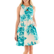 Danny & Nicole® Sleeveless Keyhole Fit-and-Flare Dress - Petite