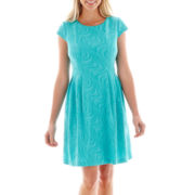 R&K Originals® Short-Sleeve Wavy Fit-and-Flare Dress - Petite