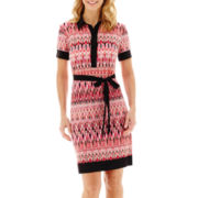 Liz Claiborne® Short-Sleeve Zigzag Print Shirtdress