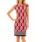 Liz Claiborne® Cap-Sleeve Geo Border Print Shift Dress