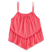 Total Girl® Pom Pom-Trim Ruffle Tank Top – Girls 7-16 and Plus