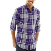 JF J. Ferrar® Long-Sleeve Blown Out Plaid Shirt