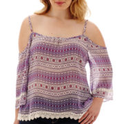 Arizona 3/4-Sleeve Cold-Shoulder Peasant Top - Plus