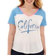 Arizona Raglan-Sleeve V-Neck Baseball T-Shirt - Plus