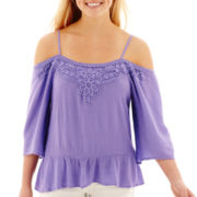 Arizona Elbow-Sleeve Crepe Cold-Shoulder Top