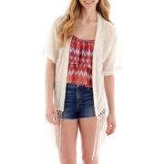 Arizona Fringe Kimono Cardigan, Ruffle Crop Cami, Hi-Rise Shorts