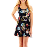 Arizona Sleeveless Floral Print Lace-Back Skater Dress