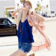 Floral Print Fringe-Trim Kimono, Ruffle-Tier Cami or Roll-Cuff Jean Shorts