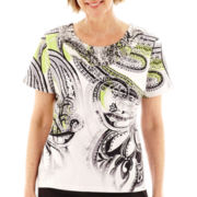 Alfred Dunner® Morocco Short-Sleeve Paisley Scroll Top - Petite