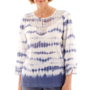 Alfred Dunner® St. Maaten 3/4-Sleeve Tie-Dye Lace Tunic Blouse - Petite
