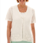 Alfred Dunner® St. Maaten Short-Sleeve Crochet Layered Sweater - Petite
