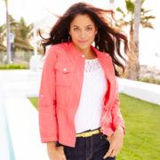 Liz Claiborne® Short-Sleeve Lace Top with Cami - Petite