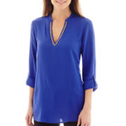nicole by Nicole Miller® Long-Sleeve Beaded V-Neck Tunic Top