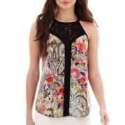 nicole by Nicole Miller® Lace-Trim Print Tank Top