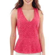 nicole by Nicole Miller® Sleeveless Lace Peplum Top