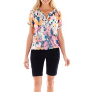 St. John's Bay® V-Neck Peasant Top or Twill Bermuda Shorts - Petite