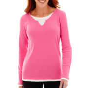 Made For Life™ Long-Sleeve Layered Notch-Neck T-Shirt