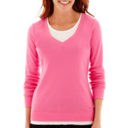 Made For Life™ Long-Sleeve Layered V-Neck Sweatshirt