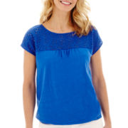 St. John's Bay® Short-Sleeve Lace Top