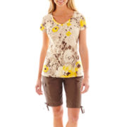 St. John's Bay® Shirred V-Neck Top or Cargo Bermuda Shorts - Petite