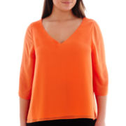Bisou Bisou® 3/4-Sleeve V-Neck T-Back Top - Plus