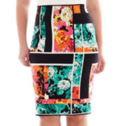 Bisou Bisou® Split-Back Print Pencil Skirt - Plus