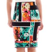 Bisou Bisou® Split-Back Print Pencil Skirt - Plus