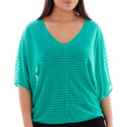 Bisou Bisou® 3/4-Sleeve V-Neck Textured Top - Plus