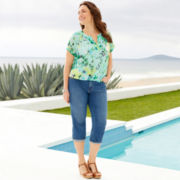 St. John's Bay® Peasant Top or Denim Cropped Jeans - Plus
