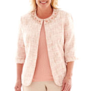 Alfred Dunner® 3/4-Sleeve Textured Bouclé Jacket - Plus