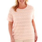 Alfred Dunner® Short-Sleeve Lace-Texture Biadere Top - Plus