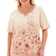 Alfred Dunner® Short-Sleeve Embellished Floral Sweater - Plus