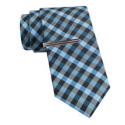 JF J. Ferrar® Gingham Tie and Tie Bar Set
