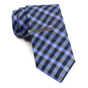 JF J. Ferrar® Blurred Gingham Tie and Tie Bar Set