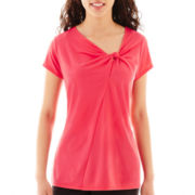 Worthington® Short-Sleeve Twist-Neck Knit Top