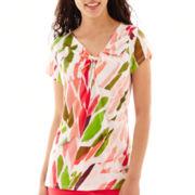 Worthington® Short-Sleeve Twist-Neck Knit Top