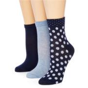 Mixit™ 3-pk. Low-Cut Polka-Dot Crew Socks