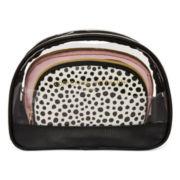 Adrienne Vittadini 3-pc. Dot Print Dome Makeup Bag Set