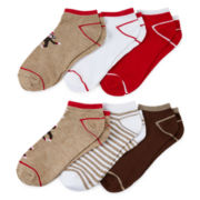 Sock Monkey 6-pk. Low-Cut Socks
