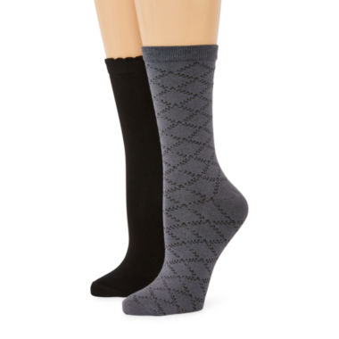 jcpenney.com | Mixit™ Womens 2-pk. Diamond-Patterned Crew Socks