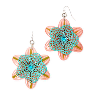 jcpenney.com | Aris by Treska Pink Silver-Tone Flower Earrings