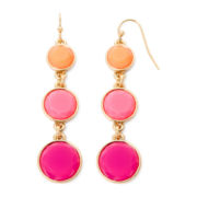 Liz Claiborne® Pink Gold-Tone Linear Drop Earrings