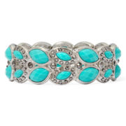 Monet® Green Silver-Tone Stretch Bracelet
