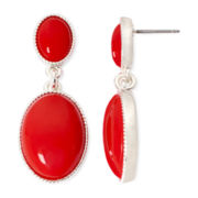 Liz Claiborne® Red Gold-Tone Double Drop Earrings