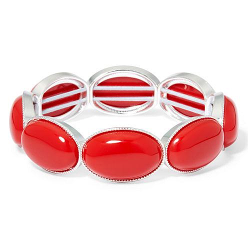Liz Claiborne® Red Gold-Tone Oval Stretch Bracelet